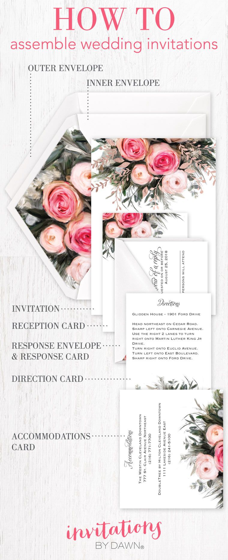 How To Assemble Wedding Invitations The Basics On How To Configure Wedd Order Wedding Invitations Assembling Wedding Invitations Wedding Invitation Envelopes
