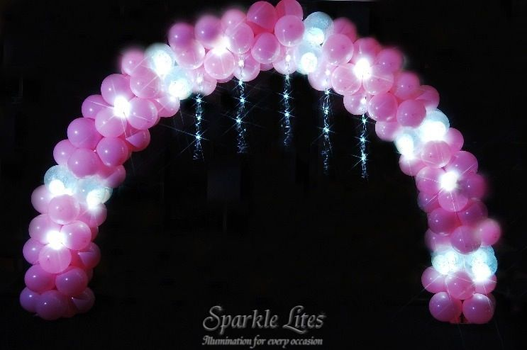 3D Balloon Arches Sparkled (LED Sparkle Ribbon & Party Dot lights)    http://www.sparklelites.com/photo-gallery/3d-balloon-arches-sparkled#4-3D_Balloon_Arch_Sparkled_015