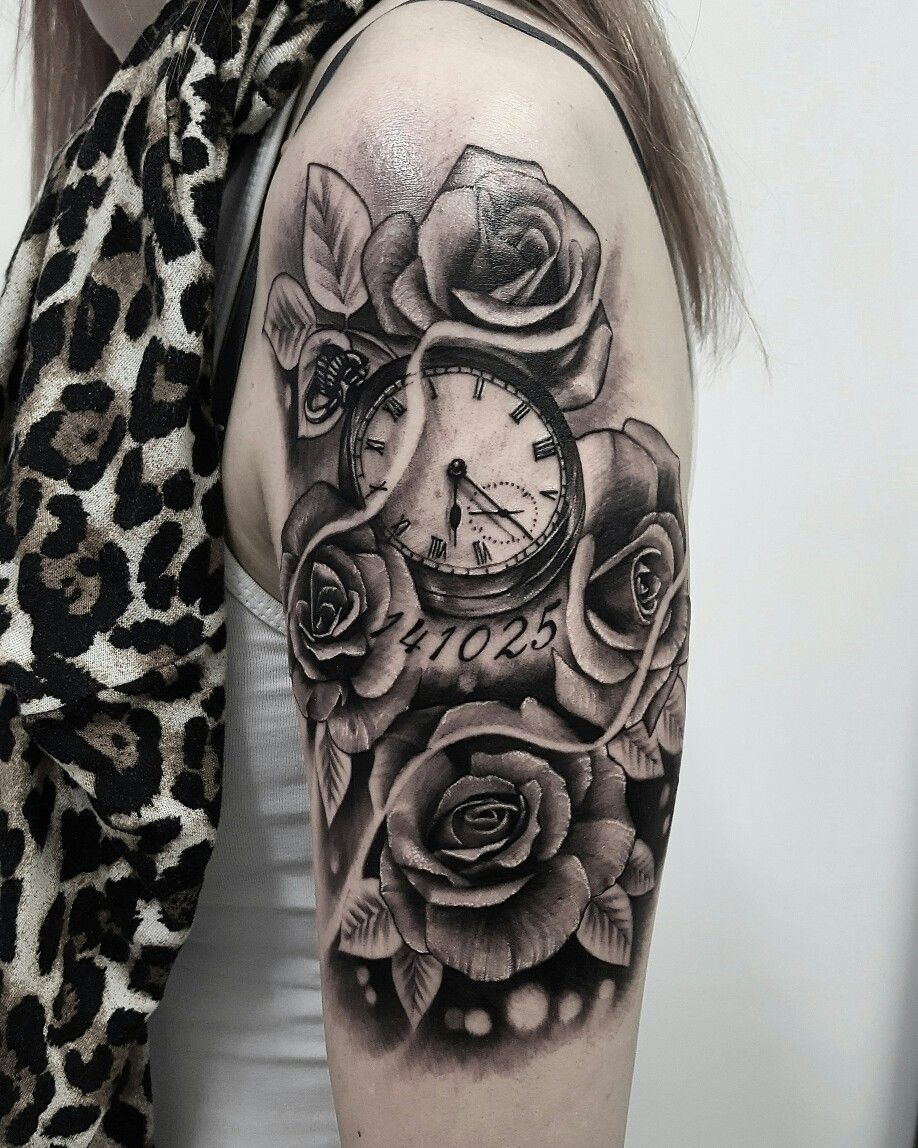 Rose tattoo arrethai tatouages montre gousset pinterest tatouage montre gousset - Montre a gousset tattoo ...