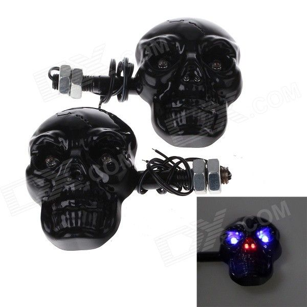 Skull Head Style 1W 4-LED 60lm Purple Light Motorcycle Steering Lamps - Black (12V)