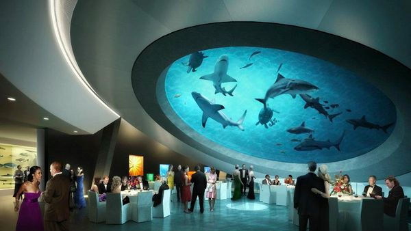 Shark filled atrium, Miami