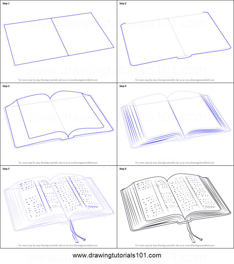 How to Draw an Open Book printable step by step drawing sheet…