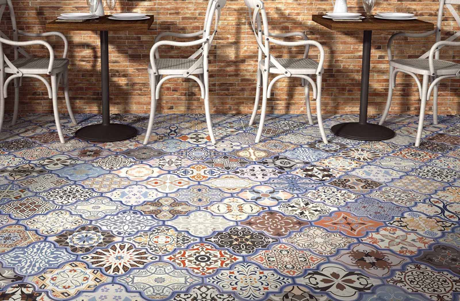 Colourful Patterned Moroccan Inspired Tile Eternity From Realonda Tile Floor Tiles Tile Cladding