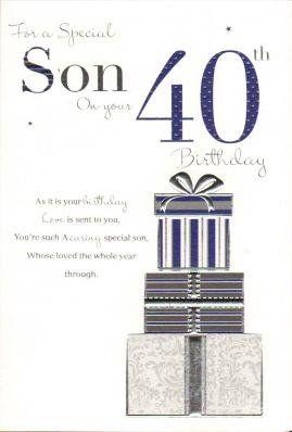 Son On Your 40th Birthday Birthday Card Birthday Card Http Www Amazon Co Uk Dp B00cyf2bb0 Ref Cm Sw R Pi Birthday Cards For Son Birthday Cards 40th Birthday