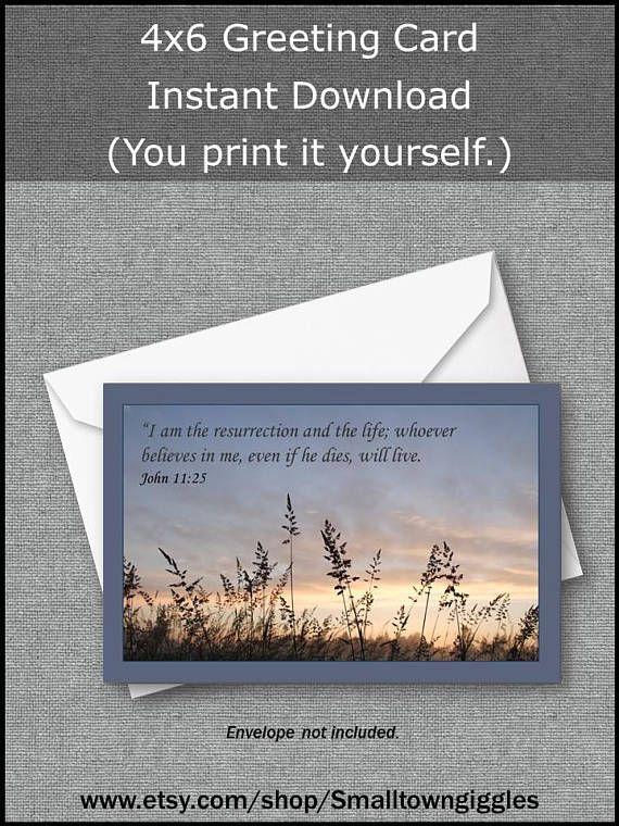 sympathy card scripture john 1125 digital download