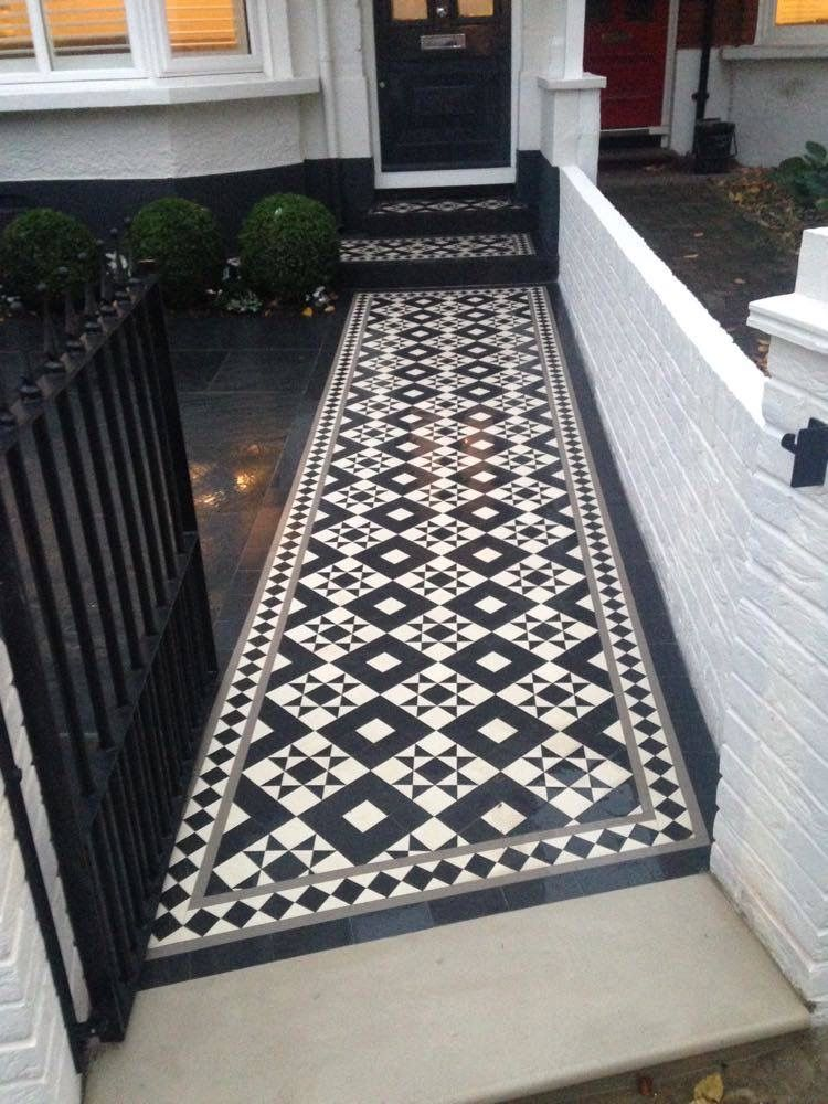 London Mosaic | Tiled Pathway | Contact us for a free quote on this  design or any of our designs by calling us on 020 8699 0820 or email us at info@londonmosaic.com  . . . #london #mosaic #tiles #homedecor #victoriantiles #victorian #homedesign #homedecoration #victorianhome #design #shoptiles #renovation #renovate #hallway #pathway #path #garden #gardendesign