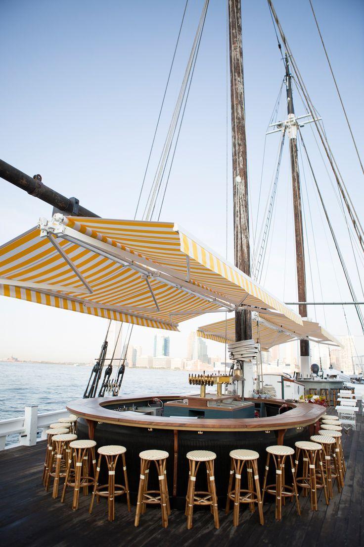 Grand Banks. Pier 25. TriBeCa. | Boat restaurant. Boat bar. Boat