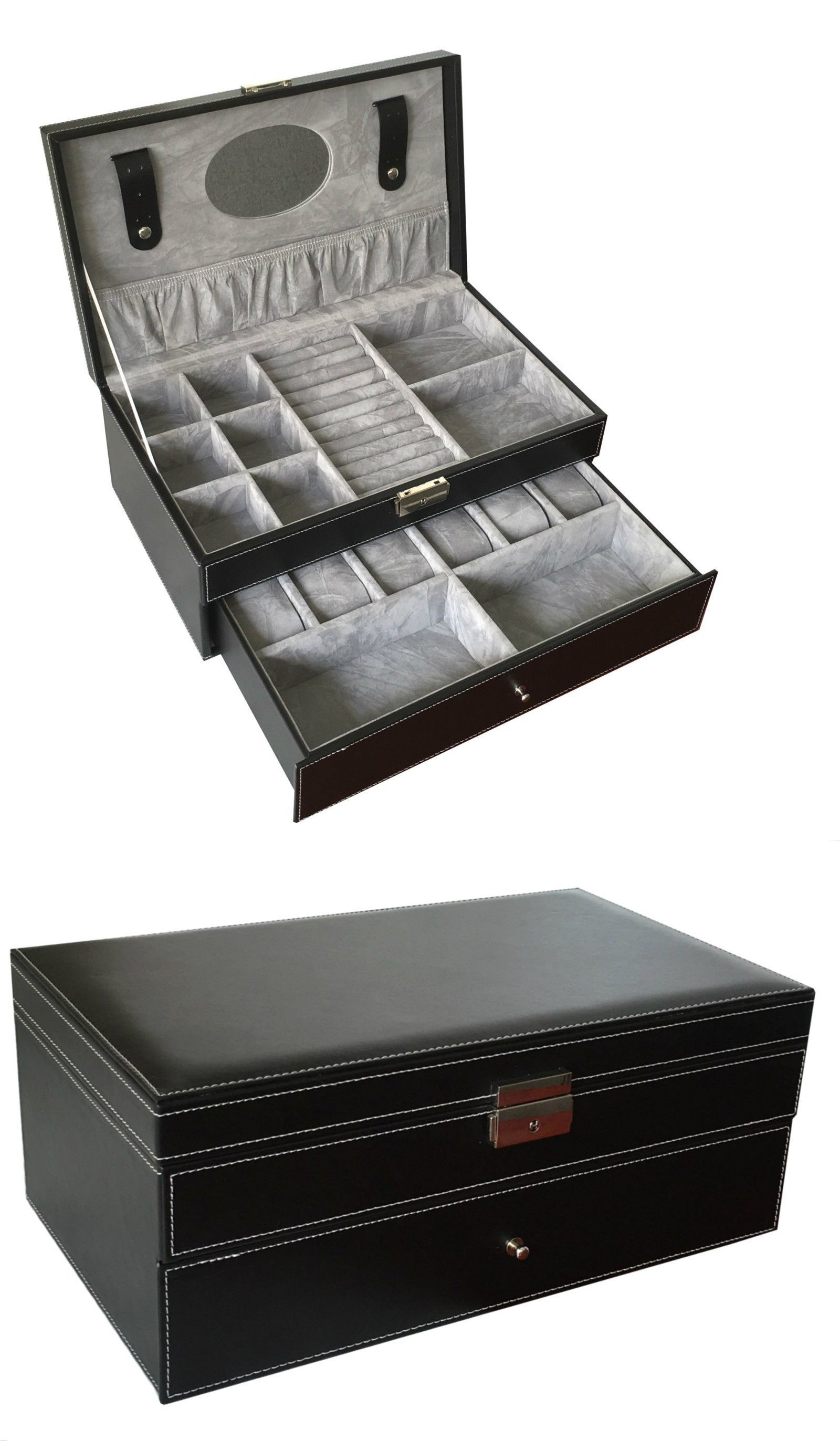 Boxes Cases and Watch Winders Sodynee 6 Black Pu Leather