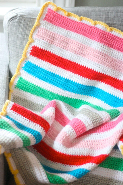 Easy crochet striped baby blanket pattern by casapinka on etsy easy crochet striped baby blanket pattern by casapinka on etsy bankloansurffo Images