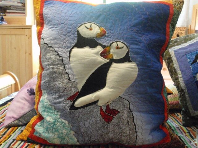 Trapunto Puffins Pillow stuffed with Lavender