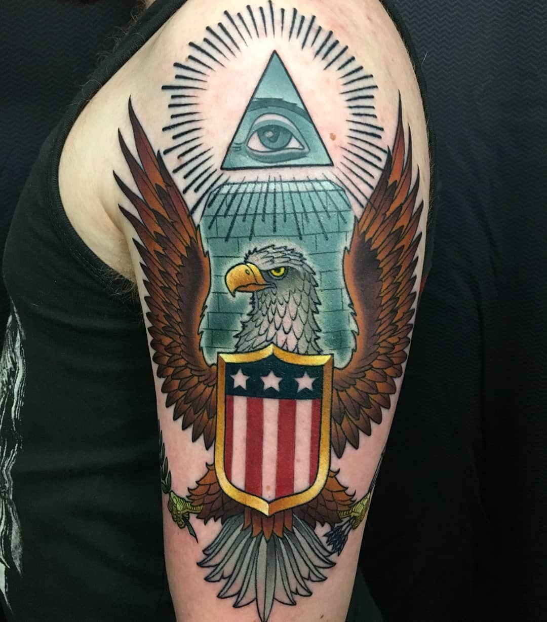 Bald eagle tattoo by the best tattoo artist in ct cracker