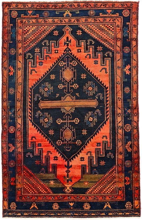 Red Orange Navy Blue Antique Zanjan Persian Rug