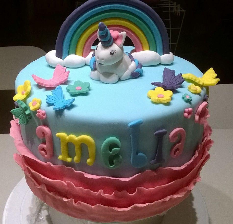 Unicorn and rainbow vanilla cake