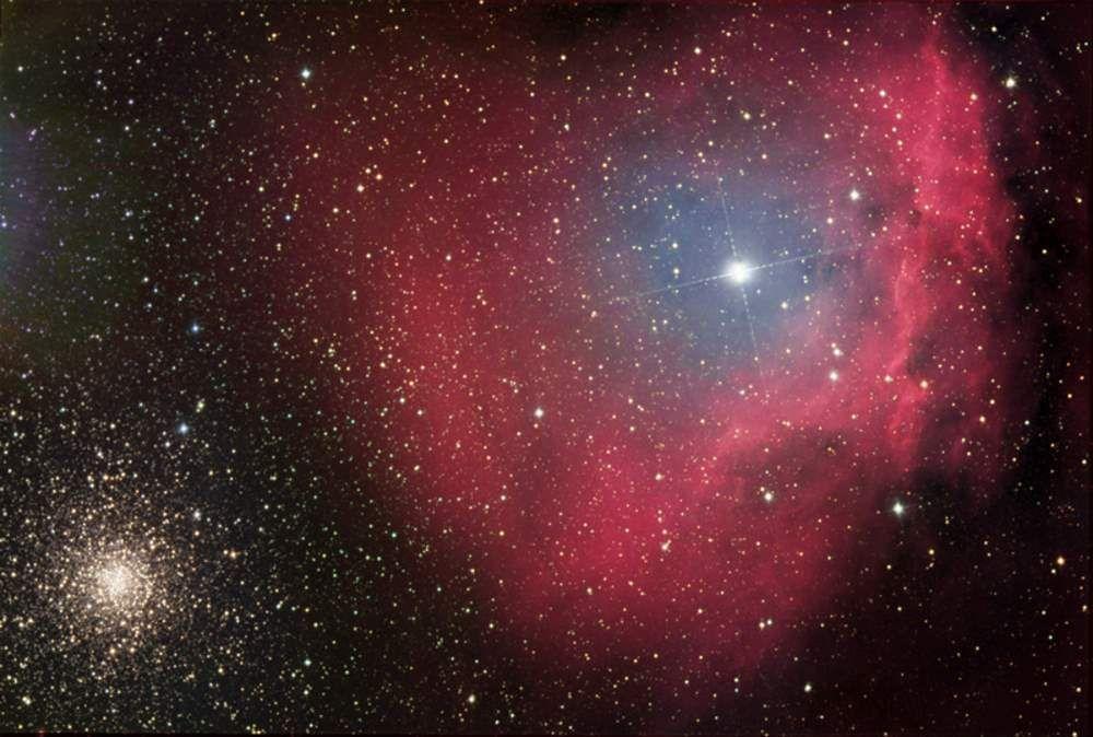 El Catálogo Sharpless: Sh2-9 (Sharpless 9) es una nebulosa de reflexión, un lugar en el que se están formando nuevas estrellas, cerca del cúmulo globular Messier 4, que se puede observar en la esquina inferior izquierda de la imagen. #astronomia #ciencia