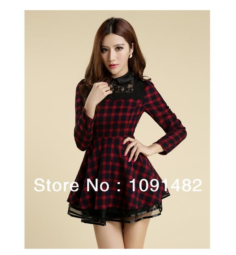 2014 new arrival spring winter women's fashion dress Slim plaid long-sleeved lace dress $26.46
