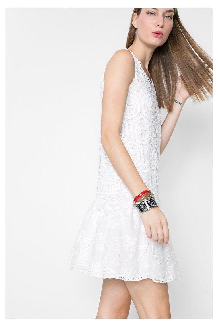 7f4cc9f147d1 Vestito bianco e corto con pizzo