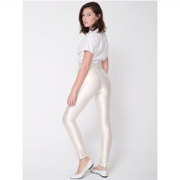 6ff16e00cd6 White AA Disco Pants NWOT High waisted disco pants by American Apparel in  off white pearl color