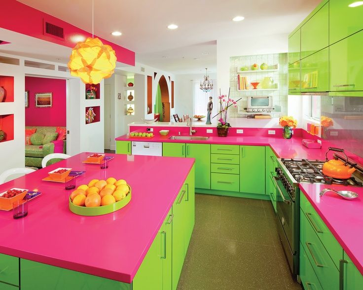 Neon Green And Hot Pink Kitchen, Pantone Lime Punch
