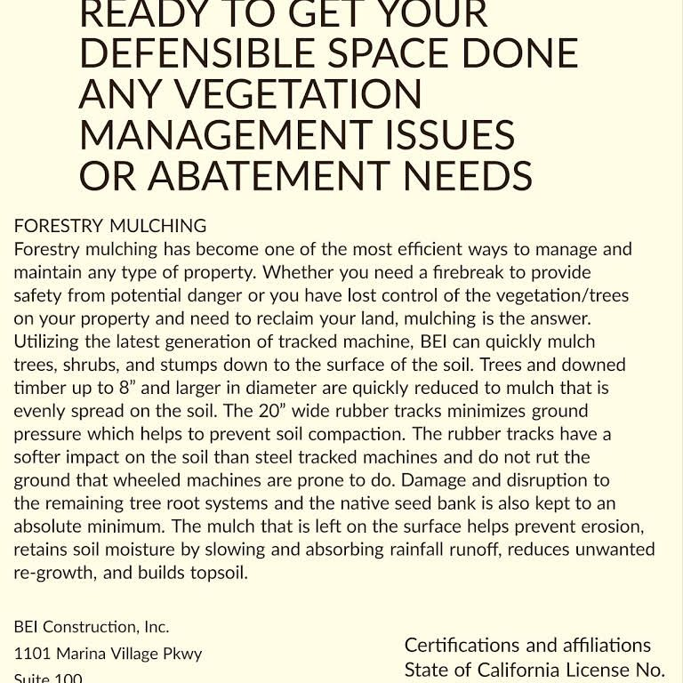 Bei defensible space contractor we are fully licensed