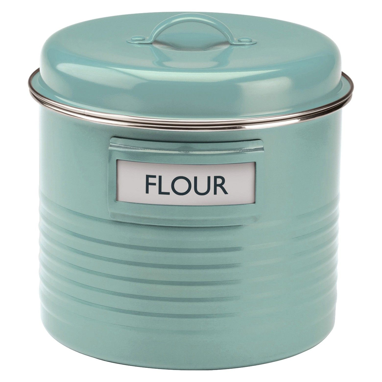 The Summer House Blue Vintage Kitchen range evokes memories of our grandparents' kitchens, but this range is definitely not old fashioned. This canister is made from enamel colour coated steel with an airtight silicone seal, interchangeable labels. It's capacity is 3.386 quarts.