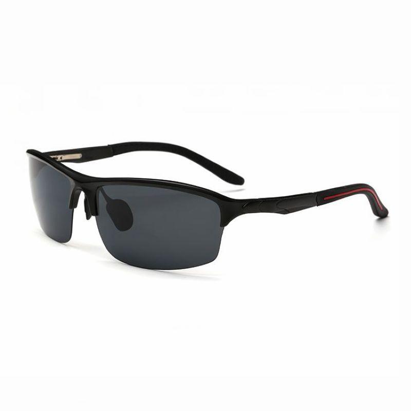 Mens Polarized Sports Wrap Sunglasses Semi-Rimless Metal Black Frame ...