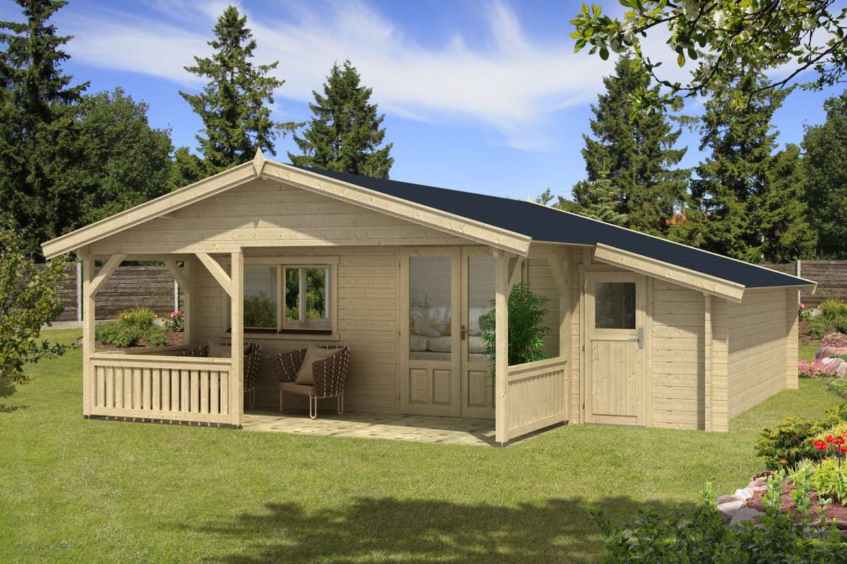 Gartenhaus Flex 50E mit 200cm Terrasse + Anbau 5x5+2Z