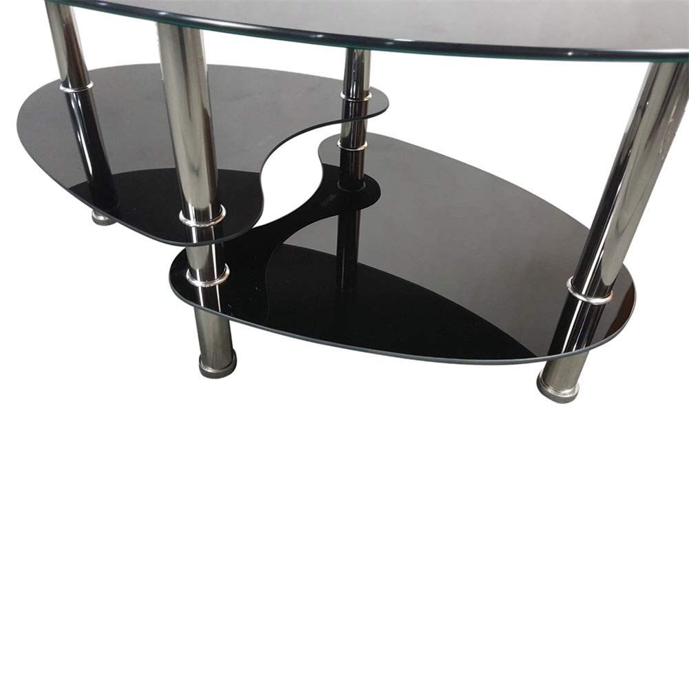 2 Tier Oval Modern Tempered Glass Coffee Table Dual Fishtail Glass End Table With Double Storage Black Coffee Tables Side Coffee Table Modern Wood Coffee Table [ 1001 x 1001 Pixel ]