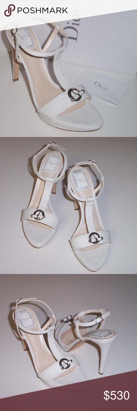 9947f84165fff6 NEW DIOR croc print T-strap platform sandal 37.5 CHRISTIAN DIOR white croc-embossed  leather upper