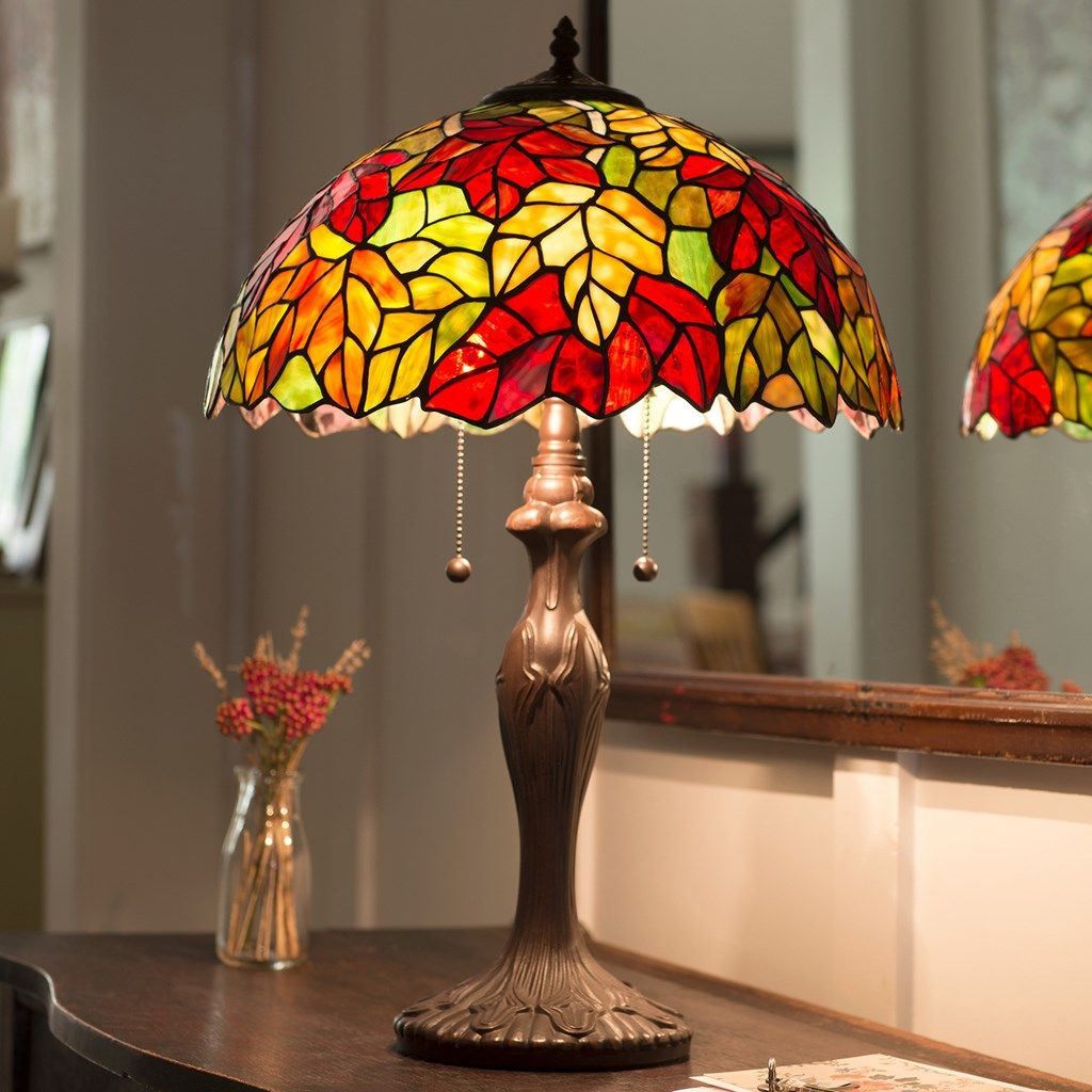 Maple Leaves Stained Glass Table Lamp Harvest Cracker Barrel Old Country Store Stained Glass Table Lamps Table Lamp Lamp