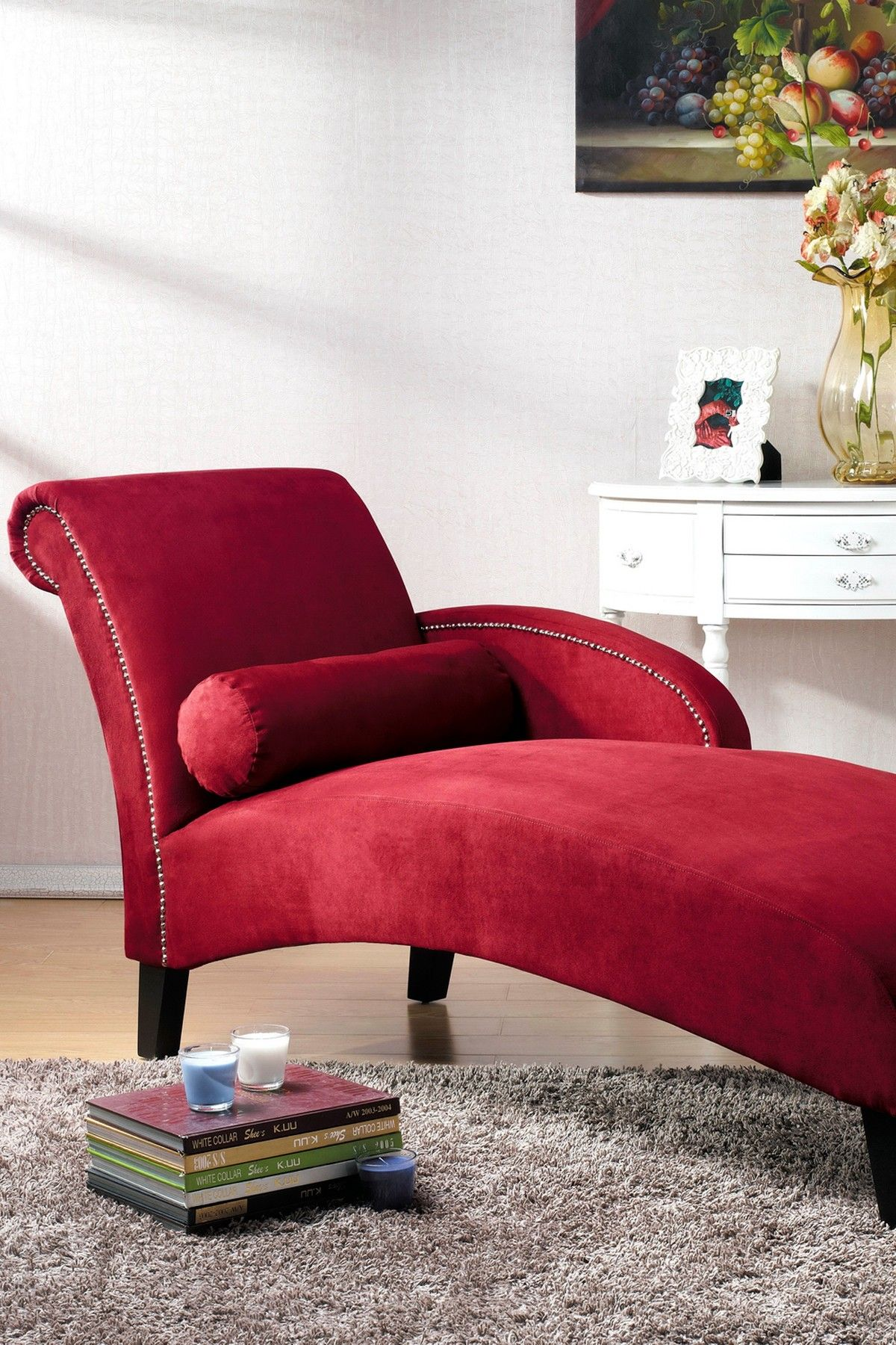 Hestia Red Microfiber Modern Chaise Lounge On Hautelook Want  # Casa Hestia Muebles
