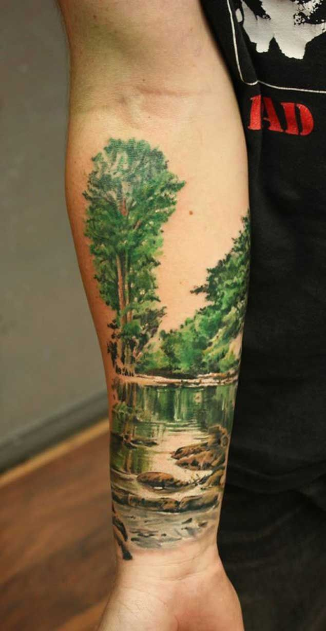 20 Scenic Landscape Tattoos | Tattoo, Tatting and ...