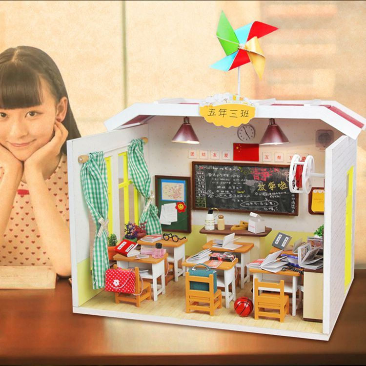 DIY Dollhouse Wooden House Toys Doll House Home Decoration Craft Miniature School Student Classroom #miniaturetoys