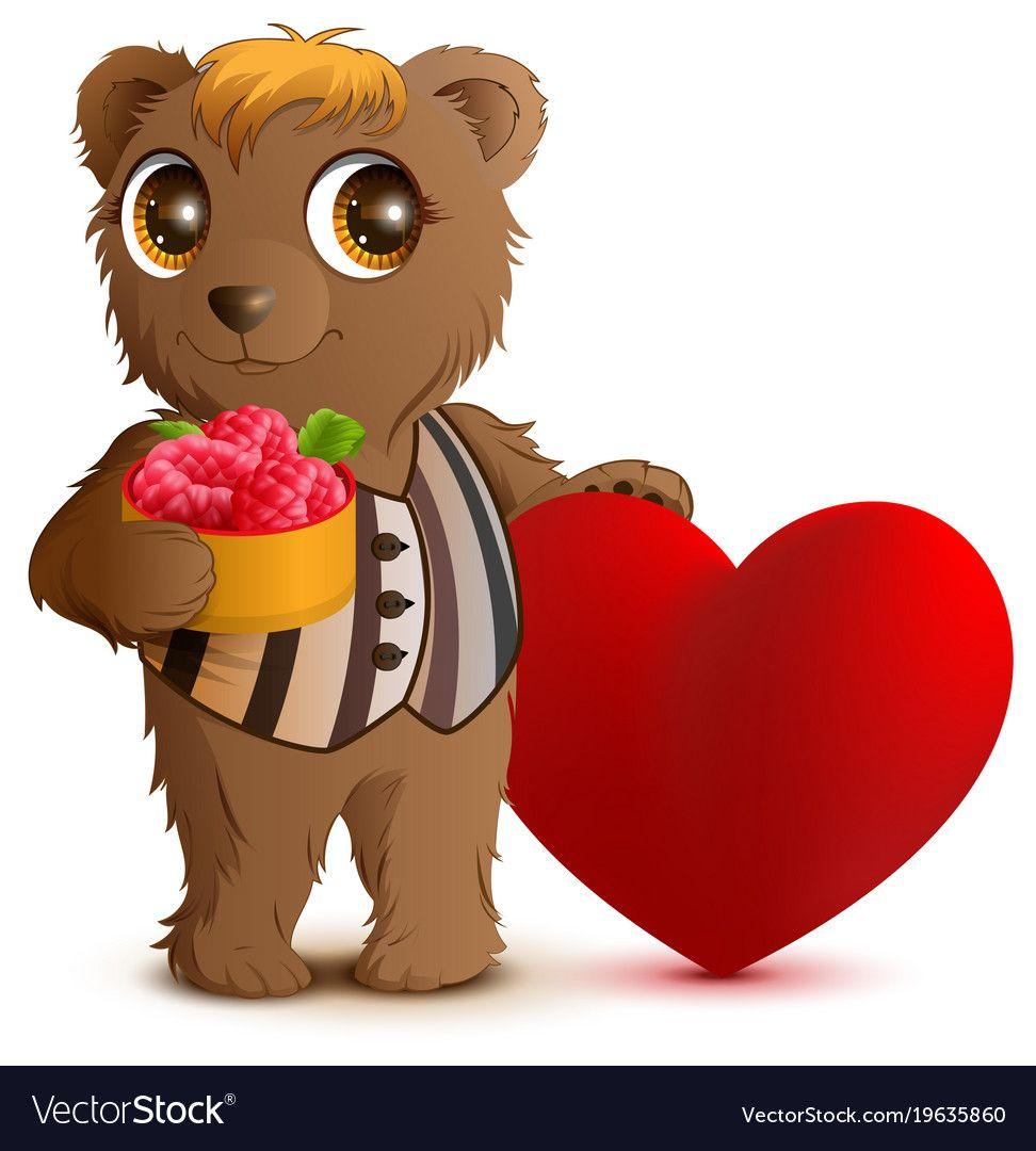 Brown Bear Holding Basket Of Raspberries Greeting Card For