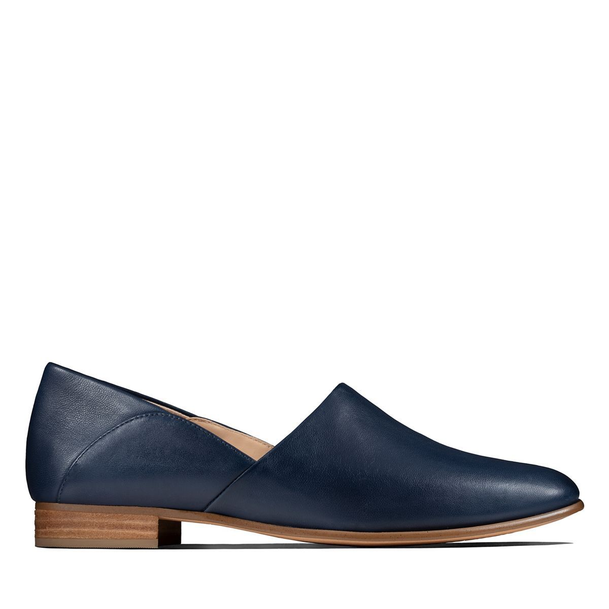 Navy leather shoes, Clarks shoes women