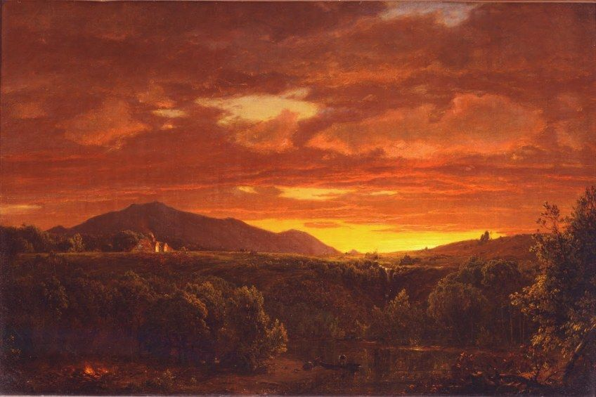Painting by Frederic Edwin Church: Twilight (1856). Church did differ from Cole in the topics of his paintings--he preferred natural and often majestic scenes over Cole's propensity towards allegory.