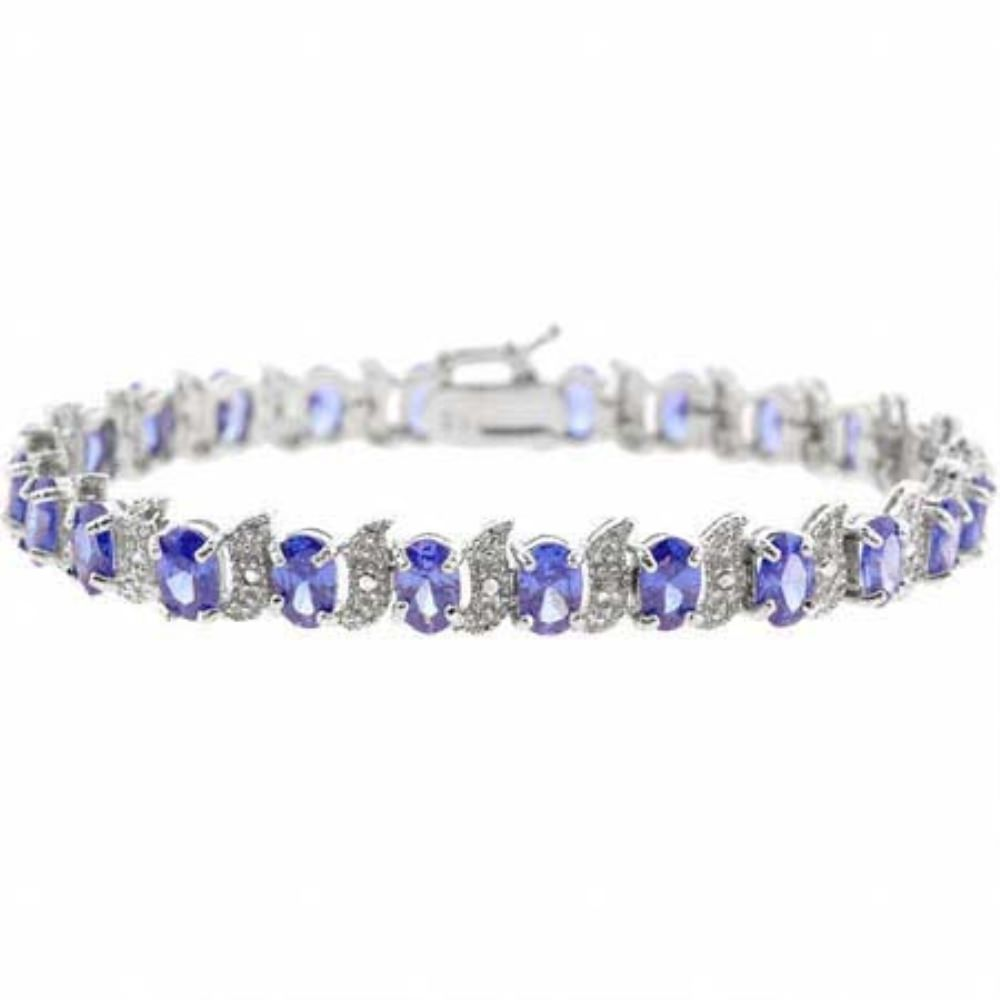 Sterling silver tanzanite cz and diamond accent s and oval tennis