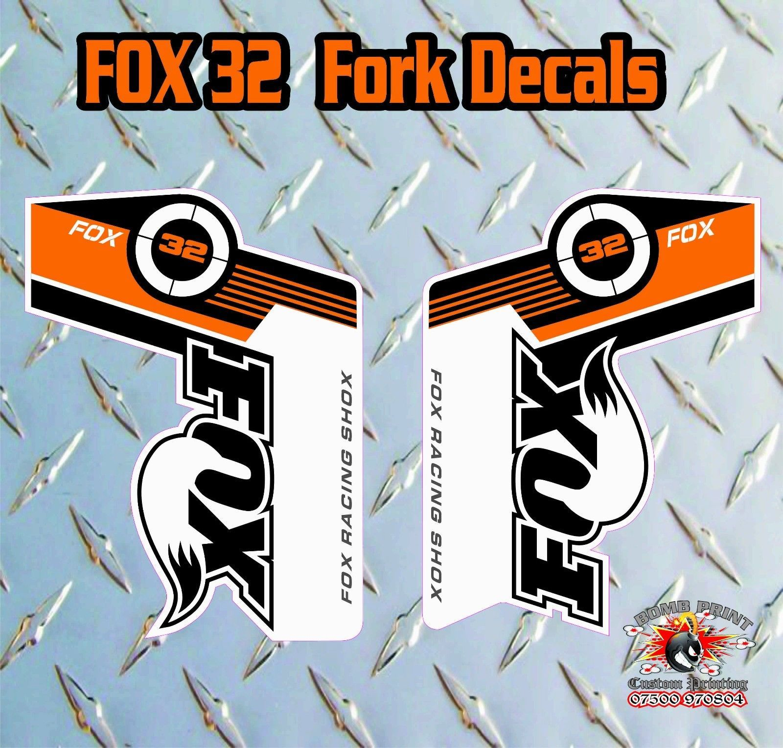 Fox 32 2014 FORK Stickers Decals Graphics Mountain Bike Down Hill MTB BLUE