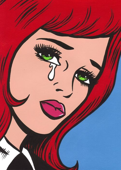 pop art girl with red hair crying