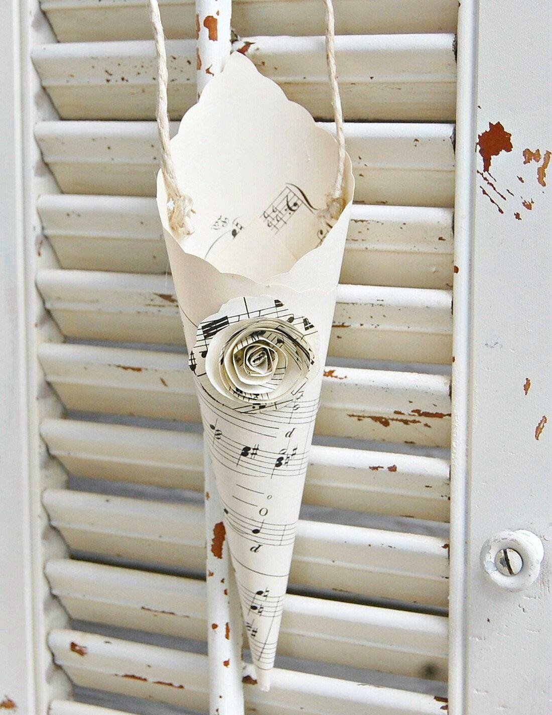 Paper cones vintage sheet music rose set of 3 weddings 900 via paper cones vintage sheet music rose set of 3 weddings 900 via etsy mightylinksfo