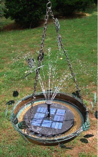 solar bubbler hanging bird bath - Solar Powered Fountain