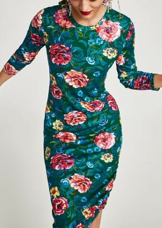 3d72bc23c369 NWT ZARA Floral Print Dress With Gathered Detail Size S Ref. 3184 286  ZARA   WigglePencilTunicDress  Casual