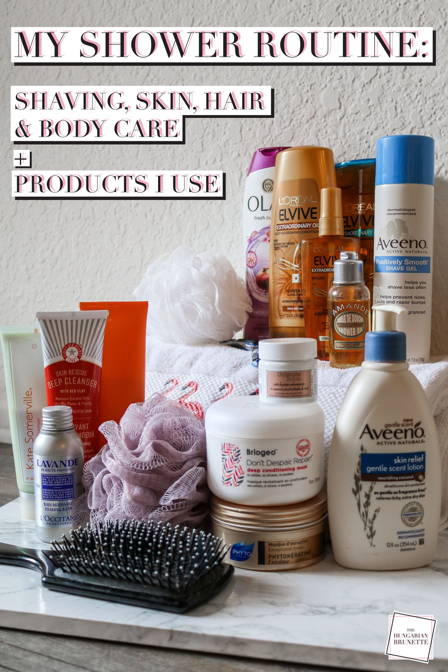 My shower routine shaving skin hair body care