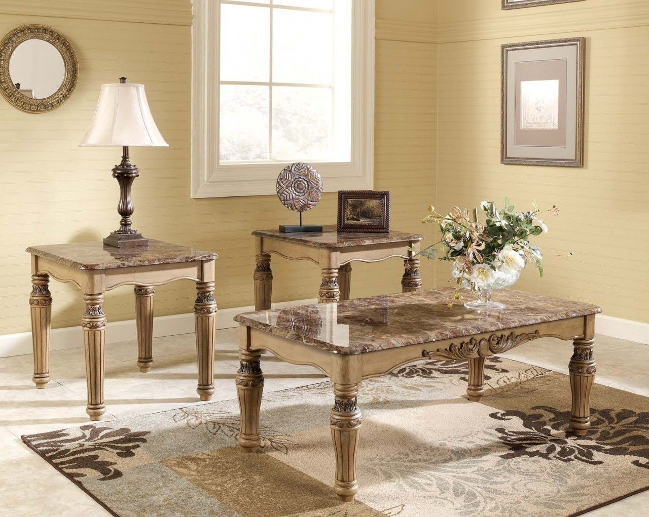 My Furniture Place Ashley T537 Coffee Table Set 289 00 Http Www Myfurniturepla Marble Tables Living Room Occasional Table Living Room Design Inspiration [ 1021 x 1280 Pixel ]