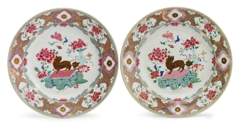 A pair of Chinese Export porcelain famille-rose 'lion' dishes, Yongzheng-Qianlong period, circa 1735
