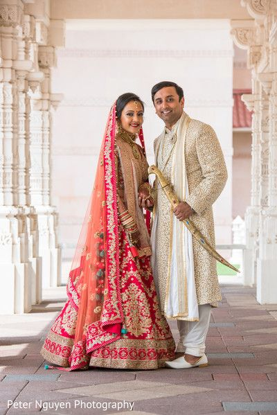 Impressive Indian Bride And Groom Wedding Portrait