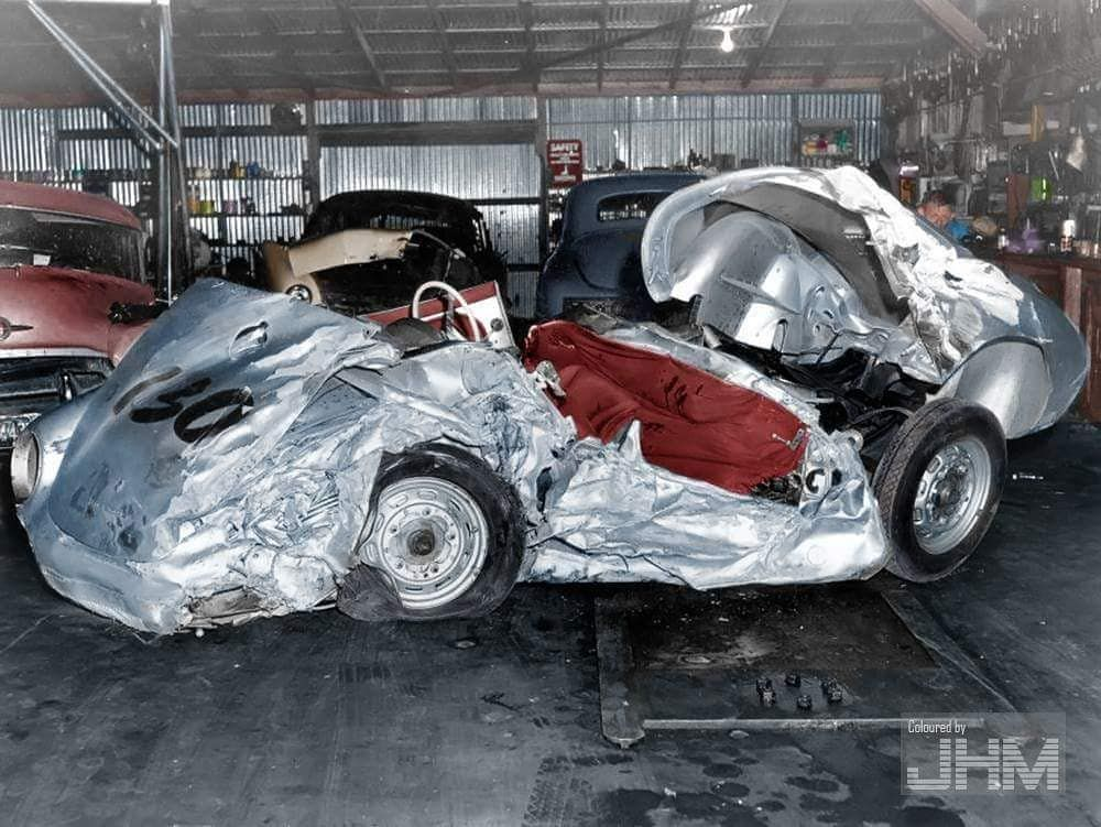 Remains of James Dean\u0027s Porsche 550 Spyder, 1955 (colorized