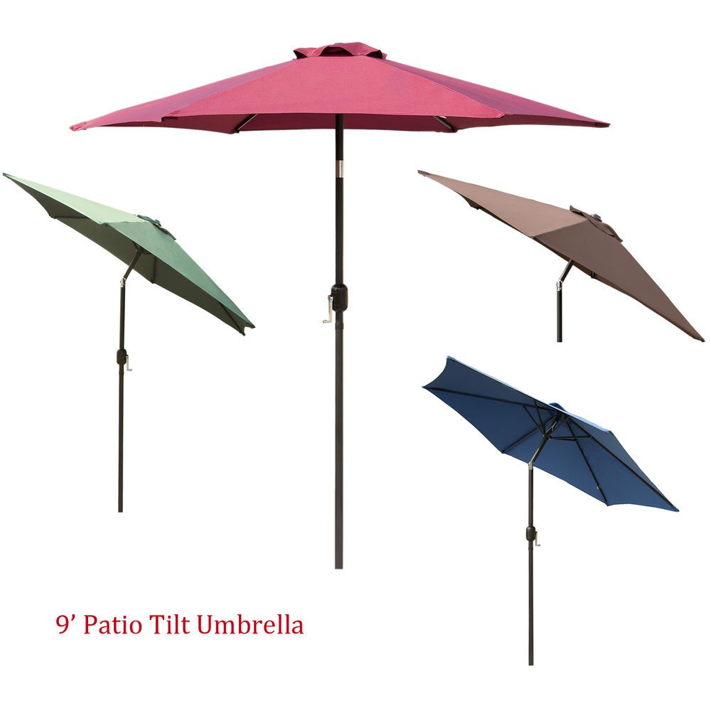 10ft Aluminum Outdoor Patio Umbrella Yard Garden Market w//Valance Crank Tilt