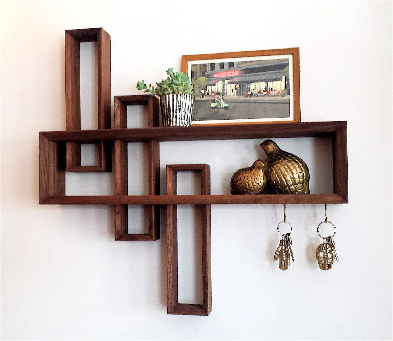 Mid Century Wall Decor Entryway Organizer Mid Century Modern Floating Shelf