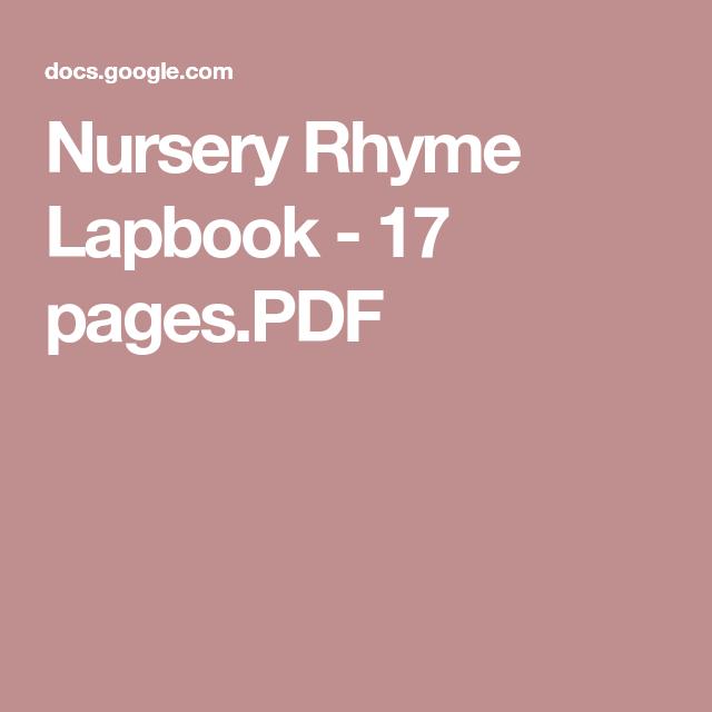 Nursery Rhyme Lapbook - 17 pages.PDF | Nursery rhymes ...