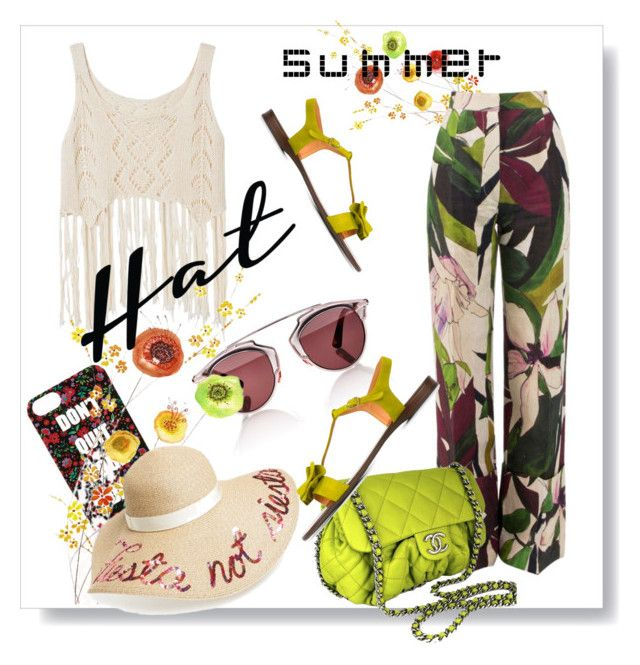 """Summer Hats"" by kari-c ❤ liked on Polyvore featuring Erika Cavallini Semi-Couture, Forever 21, Christian Dior, Chanel, Eugenia Kim, Chie Mihara and summerhat"